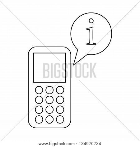 Mobile phone and speach bubble with I letter icon in outline style on a white background