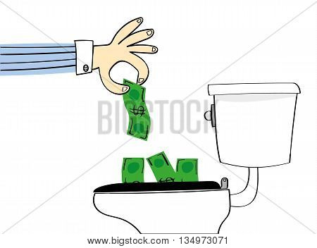 Concept for losing or wasting money with a hand dropping dollar bills down a conventional toilet to be flushed away