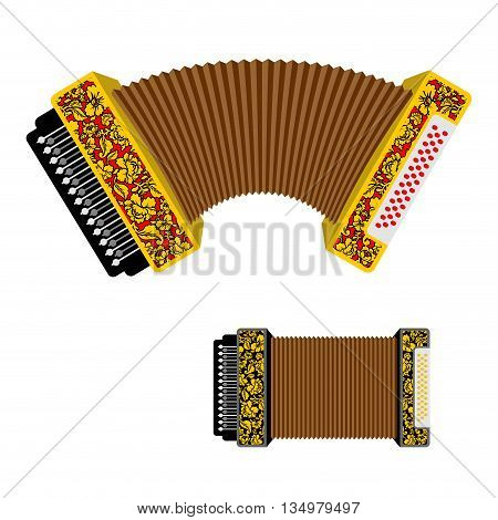 Russian accordion musical instrument. harmonic National folk jukebox. Decorated with traditional pattern painting Khokhloma