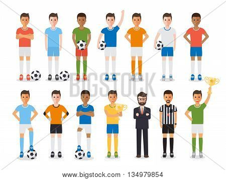 Soccer sport athletes football players soccer team manager and football referee. Flat design characters.