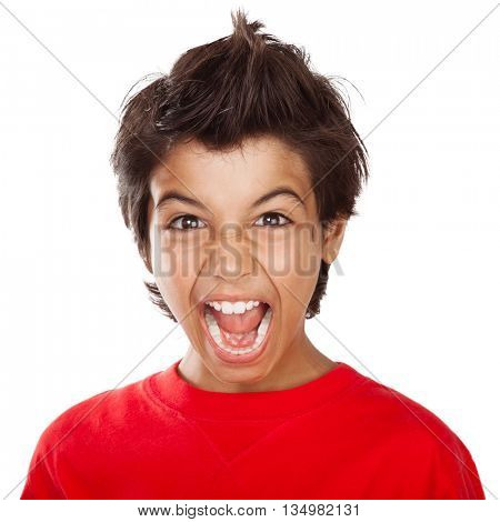 Portrait of a mad boy screaming, upset child with open mouth yelling very loud, stress and bad mood facial expression, isolated on white background