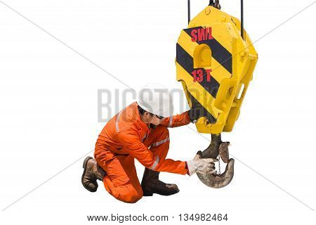 Crane inspector crane inspector on the job inspec crane hook isolated white background