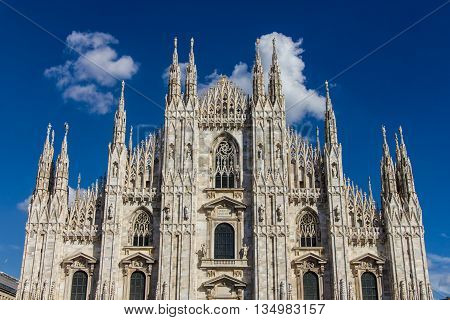 The Duomo the main church of the city of Milan Italy