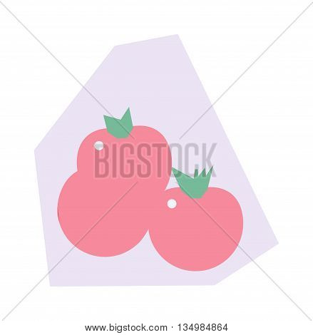 Red cherry tomatoes in plastic pack retail supermarket packaging isolated on white background. Tomato pack Tomato pack