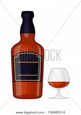 Full whiskey bottle ice aroma shot drink. Vector whiskey bottle and short glass brown drink.