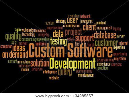 Custom Software Development, Word Cloud Concept