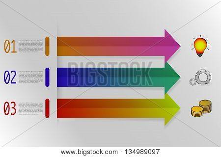 Three steps infographics with colorful arrows in origami style. 3 steps timeline infographics with colorful gradient icons and arrows with shadow. Modern business infographic.
