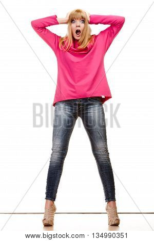 Blonde Shocked Woman In Pink Blouse