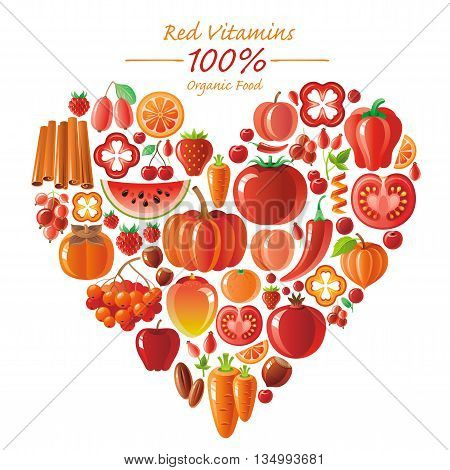 Vegetarian food icon set with organic fruits and vegetables on white background. Red and orange icons collection. Tomato cion, pumpkin, chili pepper icon, apple fruit, watermelon, mango fruit, berries
