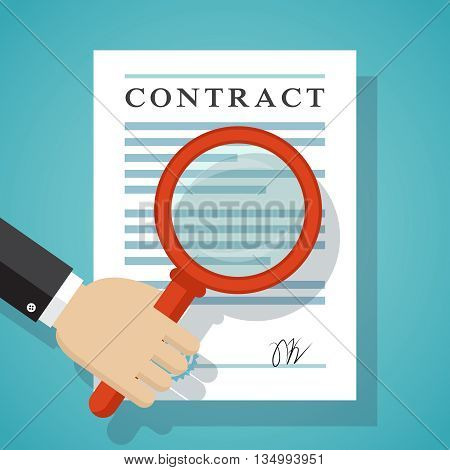 Contract inspection concept. Hand holding magnifying glass over a contract.