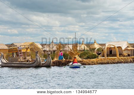 Traditional Village On Lake Titicaca In Peru