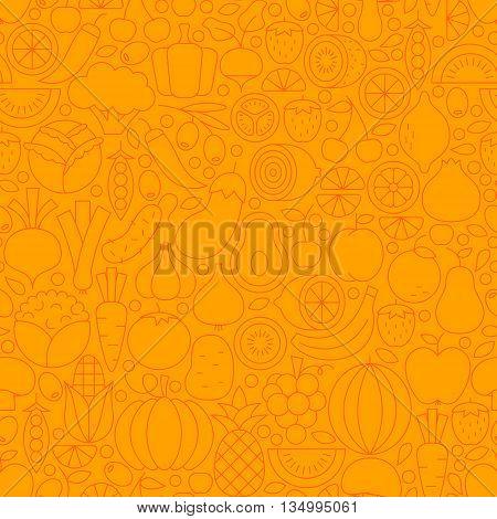 Thin Orange Vegetarian Healthy Food Line Seamless Pattern
