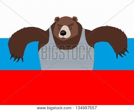 Russian Patriot Bear And Russia Flag. Wild Animal. World Stereotype