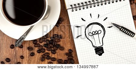 cup of coffee icon ideas diary close up