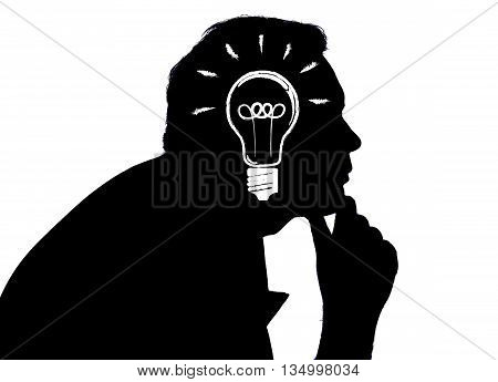 portrait of a man with an idea on a white background