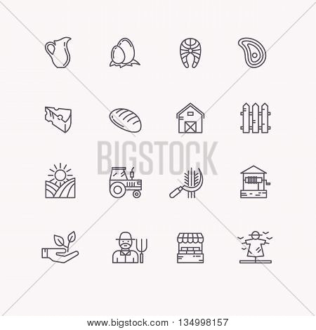 Set flat icons of linear natural products. Icons farming and eco settlement, subsistence farming.