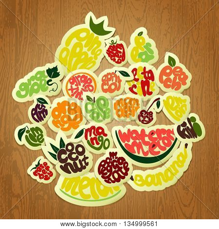 Lettering elements calligraphic names of fruits. Set for farm market cafe design menu and recipes stock vector