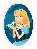 Princess Cinderella Holding Magic Shoe Vector Cartoon poster