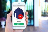 Hand holding smartphone with ecommerce screen website poster