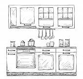 Kitchen cupboard, kitchen shelves, hand drawn sketch poster