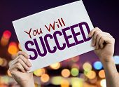 You Will Succeed placard with night lights on background poster