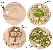 Set of round grunge tags for bio organic healthy food poster