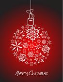 Christmas ball made from white snowflakes on red background poster