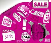 Set of purple discount tickets, labels, stamps, stickers, corners, tags (vector) poster