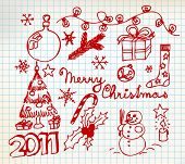 Vector Christmas and New Year doodle illustrations on squared  paper poster