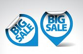 Round Labels / stickers for big sale - blue and white version poster