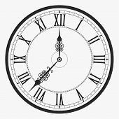 Black wall clock Roman numeral, old vintage clock-face vector poster