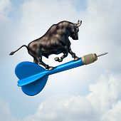 Bull market target financial concept and profiable stock goal business symbol as an optimistic bull riding a dart upward towards success as a finance icon with 3D illustration elements. poster