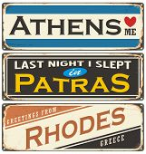 Retro tin sign collection with Greece city names. Travel souvenirs on grunge damaged background. poster