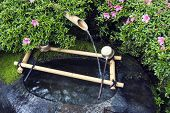 traditional Japanese water basin Tsukubai fragment with bamboo pipe water source poster