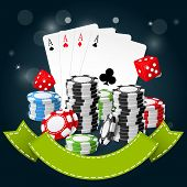 Gambling and casino poster - poker chips playing cards and dice poster