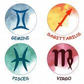 Zodiac signs. Zodiac icons. Set of round zodiac icons . Leo aquarius taurus scorpio. Vector illustration. poster