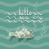 Hello Sea. Greeting card poster. Calligraphy black text word. Handwritten lettering and fish with flecks of sunlight , alga on waves aquamarine background. poster