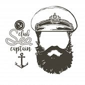 Portrait of captain. Beard, forage cap,  anchor, rope. Vector illustration Vintage nautical clubs and bars logo and emblems. poster