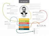 Vector original minimalist cv / resume template - creative version with thin lines connecting work experiences, education, personal info, achievements poster