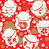 Cute pattern with cats, lucky charms, Maneki Neko, in oriental style. Vector illustration. poster