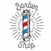 Color vintage barbershop emblem. Brand barbershop, shop barber emblem, logo badge barber shop, label barber shop, business braber shop illustration poster