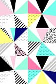 Vector seamless geometric pattern. Memphis Style. Abstract 80s. Bright Colors poster