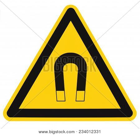 Strong Magnetic Field Warning Sign Isolated Label, Hazard Safety Caution Attention Danger Risk Conce