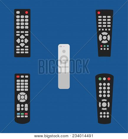 Tv Remote Control Vector Illustration Icon Set Old And Modern Isolated On Blue Background