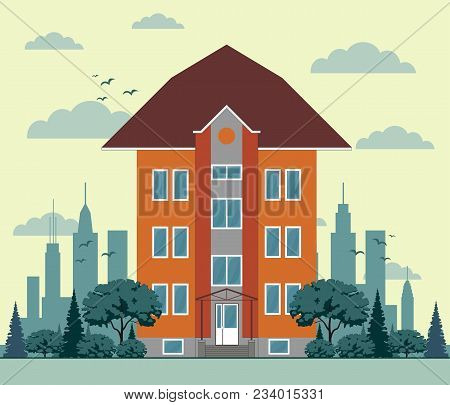Flat Design City Houses, Skyscrapers, Colorful Cottage Building. Stock Flat Vector Illustration.