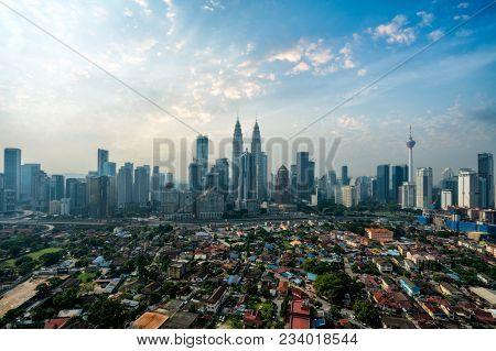 Cityscape Of Kuala Lumpur Panorama At Morning. Panoramic Image Of Skyscraper At Kuala Lumpur, Malays