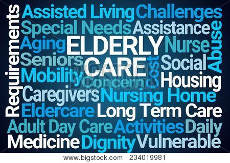 Elderly Care Word Cloud on Blue Background