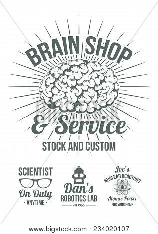 Funny Retro-futuristic Style Scientific Shops Advertisement Badges. Cool Old Style Graphic Logos For