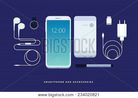 Set Of Phone Accessories: Smartphone, Power Bank, Charger, Mobile Phone Lens, Flash Card, Headphones