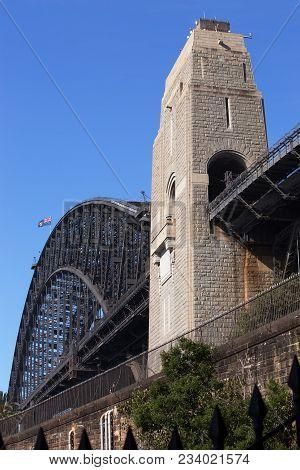 Sydney Harbour Bridge And Pylon, New South Wales.